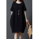 Casual Basic Short Sleeve Round Neck Solid Color Linen and Cotton Midi Oversize Dress for Women