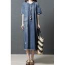 Fashion Denim Blue Short Sleeve Round Neck Raw Edge Slit Side Patchwork Maxi Oversize Denim Dress for Girls