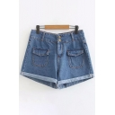 Cool Street Style Girls Mid Rise Flap Pockets Roll Edges Fitted Denim Shorts in Blue