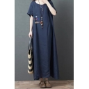 Popular Womens Short Sleeve Round Neck Solid Color Cotton and linen Maxi Oversize Dress