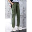 Fashion Girls Drawstring Waist Flap Pocket Solid Color Long Length Relaxed Pants