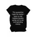 Chic Girls Short Sleeve Crew Neck Letter THIS QUARANTINE Print Relaxed Fit T-Shirt