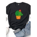 Fashion Fancy Girls Roll Up Sleeve Crew Neck Cactus Printed Relaxed Fit Tee Top