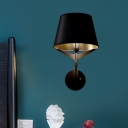 Conical Fabric Wall Sconce Light Modern 1 Light Black Wall Lighting Ideas with Metal Arm