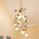 9 Lights White Glass Chandelier Lamp Countryside Multicolored Flower Stair Ceiling Pendant Light