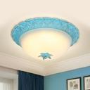 Blue Dome Flushmount Lighting Korean Garden Milk Glass LED Bedroom Flush Mount Ceiling Light, 16