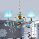 Blue 3 Lights Pendant Chandelier Korean Flower Fabric Tapered Suspension Lamp with Metal Gooseneck Arm