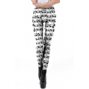 Lovely Athletic Womens Mid Waist All Over Panda Print Ankle Length Stretchy Slim Fit Leggings