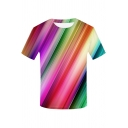 Mens Unique Short Sleeve Crew Neck Colorful Stripe Patterned Relaxed Fit T-Shirt