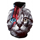 Fashionable Cute Boys Long Sleeve Drawstring Cat 3D Print Loose Fit Hoodie with Pocket