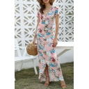 Amazing Beach Ladies Short Sleeve Surplice Neck Allover Floral Pattern Long Fit Wrap Dress in Pink