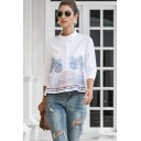 Ethnic Ladies Long Sleeve Stand Collar Flower Embroidered Contrast Piped Loose Fit Shirt in White