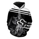 Hip Hop Boys Long Sleeve Drawstring Striped Skull Printed Colorblock Loose Hoodie in Black