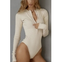 Sexy Womens Long Sleeve Deep V-Neck Button Up Slim Fit Solid Color Knitted Bodysuit