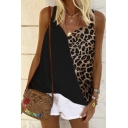 Popular Sexy Womens Sleeveless V-Neck Leopard Printed Patchwork Loose Fit Cami Top in White