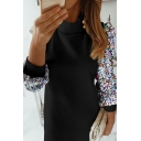 Amazing Elegant Womens Blouson Sleeve Crew Neck Sequins Bling Bling Embellished Short Shift Work Dress in Black