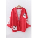 Harajuku Womens Bell Sleeve Bow Tie Front Cat Chinese Letter Graphic Relaxed Fit Cardigan