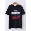 Cool Streetwear Girls Short Sleeve Crew Neck Letter AND VOTE Car Graphic Relaxed Fit T-Shirt