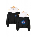 Unique Womens Long Sleeve Cold Shoulder NASA Letter Print Colorblock Relaxed Hoodie