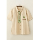 Simple Womens Short Sleeve Lapel Collar Button Down Japanese Letter Avocado Embroidered Relaxed Shirt with Tie