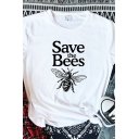 Basic Womens Roll Up Sleeve Crew Neck Letter SAVE THE BEES Bee Graphic Slim Fit T-Shirt