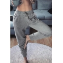 Sport Ladies Drawstring Waist Letter MY BODY NOT YOURS Cuffed Ankle Relaxed Trousers in Gray