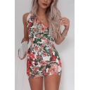 Sexy Girls Sleeveless Asymmetric Surplice Neck All Over Floral Printed Mini Fitted Dinner Dress