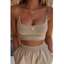 Stylish Girls Sleeveless Letter M Embroidered Slim Fitted Crop Cami Top