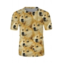 Popular Boys Short Sleeve Crew Neck Funny Dog Allover Printed Relaxed T Shirt in Yellow