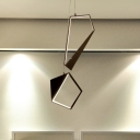Geometric Cluster Pendant Light Modern Acrylic LED Black Ceiling Lamp in White/Warm Light for Bedroom
