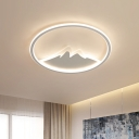 Modernism LED Flush Mount White Ring and Mountain Ceiling Flush with Acrylic Shade in White/Warm Light, 17