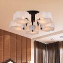 White Scalloped Drum Flush Lighting Contemporary 5 Lights Acrylic Semi Flush Mounted Lamp