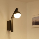 Coffee Ball Wall Sconce Lighting Modernist White Glass LED Wall Mount with Angled Metal Arm