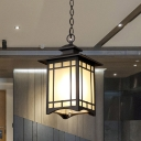 Lantern Outdoor Hanging Light Kit Country Opal Glass 1-Light Black Ceiling Pendant Lamp