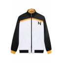 Sportswear Mens White Long Sleeve Stand Collar Zipper Front Letter N Contrast Piped Loose Jacket with Pants