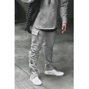 Leisure Guys Drawstring Waist Flap Pockets Label Cuffed Relaxed Straight Long Sweatpants
