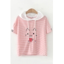 Lovely Girls Short Sleeve Drawstring Cat Embroidery Striped Relaxed Fit Hoodie