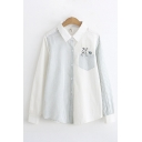 Casual Womens Long Sleeve Lapel Collar Button Down Pocket Rabbit Embroidered Stripe Patched Curved Hem Loose Shirt in White