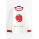 Chic Fashionable Girls Long Sleeve Round Neck Strawberry Lemon Patchwork Japanese Letter Contrasted Piped Relaxed Tee