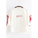 Chic Trendy Girls Bow Tied Sleeves Round Neck Letter BLOSSOM Embroidery Loose T-Shirt