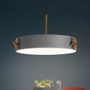Round Hanging Ceiling Light Simplicity Acrylic 2 Heads Grey Suspension Pendant with Butterfly Deco for Living Room