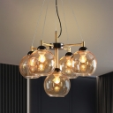 5 Bulbs Living Room Chandelier Lamp Modernist Black Hanging Ceiling Light with Global Amber/Smoke Gray Glass Shade