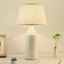White Cone Nightstand Light Modern Style 1-Head Fabric Night Lamp with Metal Pencil Base
