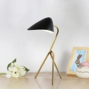 Metallic Oval Shade Reading Light Minimal Style 1-Head Black Finish Small Desk Lamp with Tripod Design