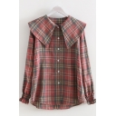 Lovely Girls Long Sleeve Peter Pan Collar Button Down Plaid Printed Relaxed Fit Shirt in Pink