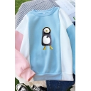 Pretty Girls Long Sleeve Crew Neck Penguin Printed Color Block Loose Fit Pullover Sweatshirt