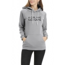 Simple Girls Drawstring Long Sleeve Letter A GIRL HAS NO NAME Printed Kangaroo Pocket Slim Fit Hoodie