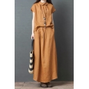 Leiusre Vintage Girls Plain Short Sleeve Lapel Collar Button Down Back Linen and Cotton Relaxed T Shirt Maxi Skirt Two Piece Set