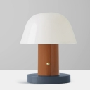 Contemporary 2 Heads Night Table Light Blue and Brown/White and Blue Mushroom Nightstand Lamp with Iron Shade