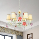 Fabric Light Green Hanging Pendant Bell 6 Lights Korean Flower Suspension Lighting with Crystal Draping